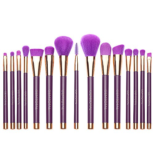 Gemtotal Makeup Brushes 15 PCS Perfect Starter Kit Liquid Foundation Powder Blending Brush Soft Bristles With Cosmetic Bag, Black With Gold (Purple Gold)