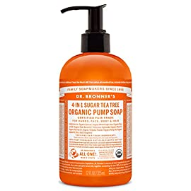 Dr. Bronner's Organic Tea Tree Sugar Soap. 4-in-1 Organic Pump Soap for Home and Body (12 oz) 65 ORGANIC SUGAR SOAP. Dr. Bronner's Organic Sugar Soap is made for washing everything from your hands to your hair. This multi-purpose soap utilizes organic and vegan ingredients to keep your skin hydrated, nourished, and smooth. TEA TREE. Woodsy and medicinal - this Tea Tree Organic Sugar Pump Soap contains pure tea tree oil - good for acne-prone skin and dandruff! Dr. Bronner's soap is concentrated, biodegradable, versatile and effective 4-IN-1 SOAP. Great for washing your hands, face, body, and hair, this soap offers organic and vegan ingredients. Sugar gives it a caramel color and sweet scent, white grape juice is nourishing, and coconut-olive-hemp oils give a creamy castile lather.