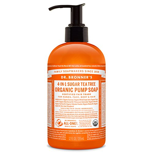 Dr. Bronner's Organic Tea Tree Sugar Soap. 4-in-1 Organic Pump Soap for Home and Body (12 oz)
