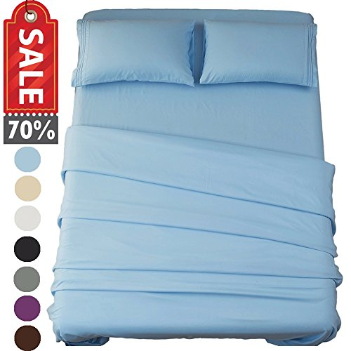 Sonoro Kate Bed Sheet Set Super Soft Microfiber 1800 Thread Count Luxury Egyptian Sheets 18-Inch Deep Pocket Wrinkle and Hypoallergenic-4 Piece(Full Lake Blue)