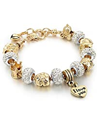 """Gold Plated Snake Chain Glass Beads """"I Love You"""" Charm Beaded Bracelets for Women"""