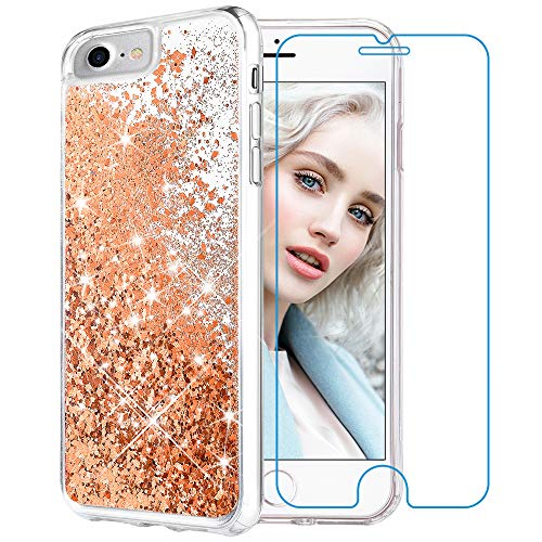 Maxdara iPhone 8 Case, iPhone 7 Glitter Liquid Women Case [Tempered Glass Screen Protector] Floating Bling Sparkle Luxury Pretty Protective Girls Case iPhone 6/6s/7/8 4.7 inch (Gold)