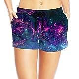 WHENLUCKY Hip Hop Purple Mysterious Galaxy Beach Shorts Summer Printed Wide Waistband Swim Brief