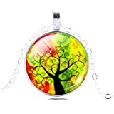 Life Tree Pendant Necklace Vintage Silver Color Chain Necklace In Jewelry Classic Glass Cabochon Necklace 8