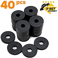 X-bet MAGNET TM - Round Ceramic Disc Magnets with Hole - Tiny Ring Bulk Lot of 40 Pcs - 1.2 Inch (31mm) - Donut Magnets for Refrigerator Fridge, Science Projects, Crafts, Around The Office
