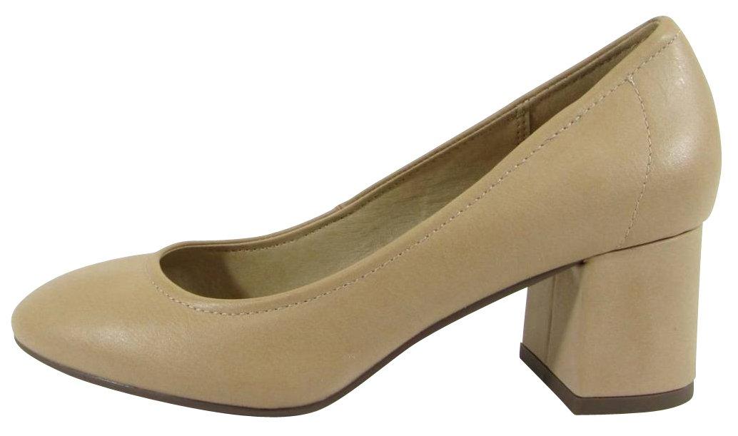 Cambridge Select Women's Closed Round Toe Slip-On Chunky Block Mid Heel Pump B07B8QXBV6 7 B(M) US|Dark Beige Pu
