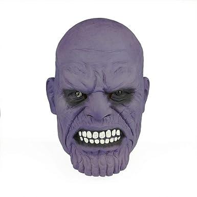 trippy lights new thanos superhero movie latex halloween costume overhead teen adult mask helmet