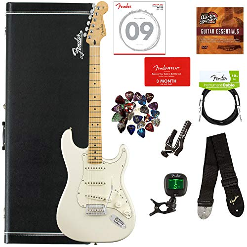 Fender Player Stratocaster, Maple – Polar White Bundle with Hard Case, Cable, Tuner, Strap, Strings, Picks, Capo, Fender Play Online Lessons, and Austin Bazaar Instructional DVD
