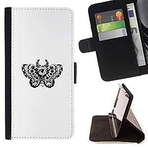 Momo Phone Case / Flip Funda de Cuero Case Cover - Tatuaje Diseño floral de la mariposa B & W - Huawei Ascend P8 (Not for P8 Lite)