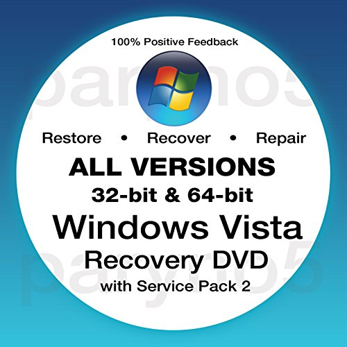 Windows Vista Recovery Disc All Versions 32 Bit and 64 Bit Restore Repair Re-install Fix Boot Disk PC DVD ~ Home Premium, Home Basic, Professional, Ultimate + Support (Dell, HP, Works on All Brands) (Laptop Boot Disk For Hp)