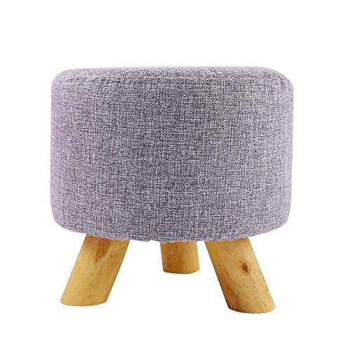 - blue--net Round Ottoman Foot Stool Upholstered Padded Pouf with Wooden Legs Linen Fabric Cover