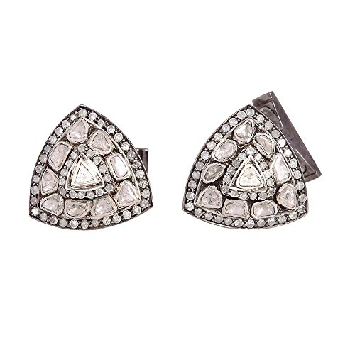 2.51ct Natural Diamond Triangle Shape Cufflinks 925 Sterling Silver Gift Jewelry by Jaipur Handmade Jewelry