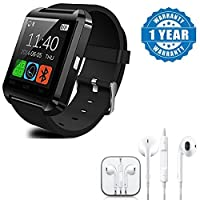 Drumstone U8 Bluetooth Smart Notification Wrist Watch with Stereo Earpod with 3.5Mm Jack and Mic Works with All Android Or iPhone Devices (1 Year Warranty, Color May Vary)