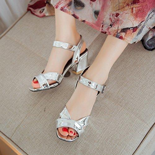 superficiale color sandali con fibbia nuove da Estate donna open toe grosso tacco sandali basso tacco grossa scarpe Chocolate ZHZNVX PU80gq8