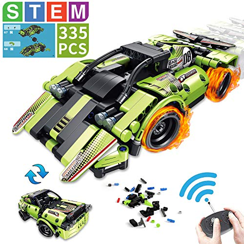Aokesi 2 in 1 Remote Control Racing Car - 335 Piece Snap Together Engineering Car Kits Off-Road Truck STEM Building Toys Early Learning Racecar Toys Gift for Kids Age 6+ Boys Girls