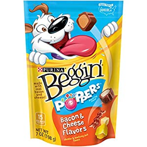 Purina Beggin' Party Poppers Bacon & Cheese Flavors Dog Snacks, 7-Ounce Pouch