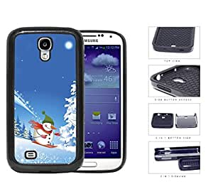 Cute Winter Wonderland Snowman Skiing down Snow Mountain Samsung Galaxy S4 i9500 (2-piece) Dual Layer High Impact Cell Phone Case by lolosakes