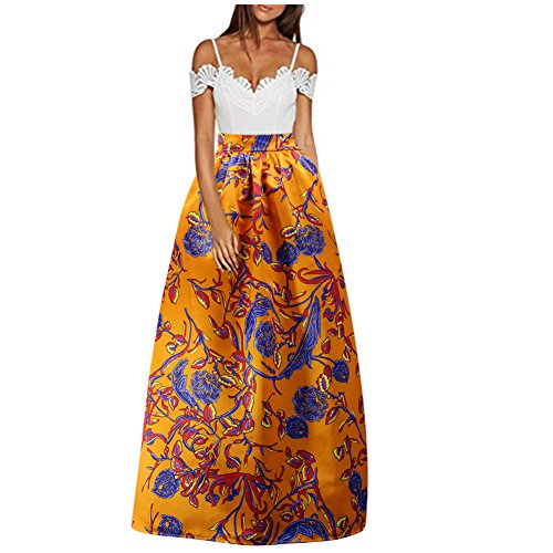 C-US Women's African Floral Print Maxi Skirt High Waist Pleated Beach Skirts With Pockets