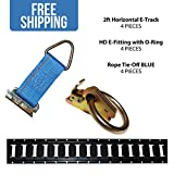2' Horizontal E-Track, E-Track O-Ring, E-Track Rope Tie Off COMBO KIT - Shippers Supplies - 4 Pieces of E-Track, 4 O-Rings with E-Fittings, 4 Rope Tie Offs - Great for Securing Cargo in Your Trailer!