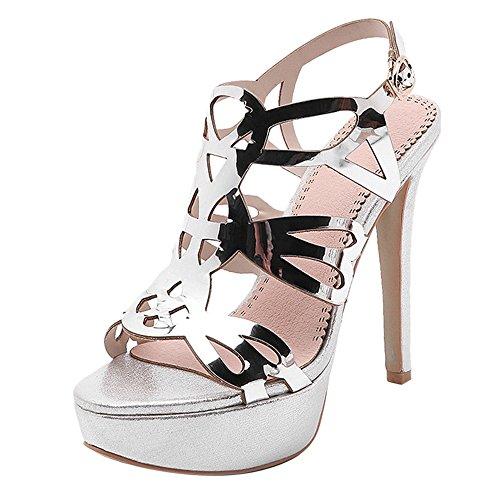 Talon Haut Sandales Ouvert TAOFFEN à Femmes Bout Chaussures Silver Forme Plate d'Été z6qnU4xvwq