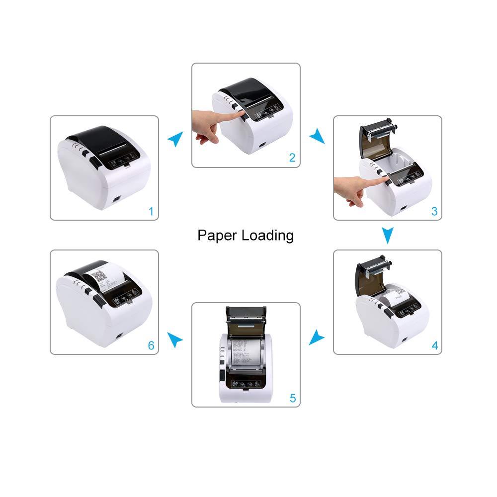LAN ESC//POS eingestellt-EU Schwarz Thermodrucker Bluetooth Munbyn 300mm//s Bondrucker Quittungsdrucker Auto-Cut Schublade Unterst/ützung,Hochgeschwindigkeits Bluetooth USB Ethernet Update 3.0