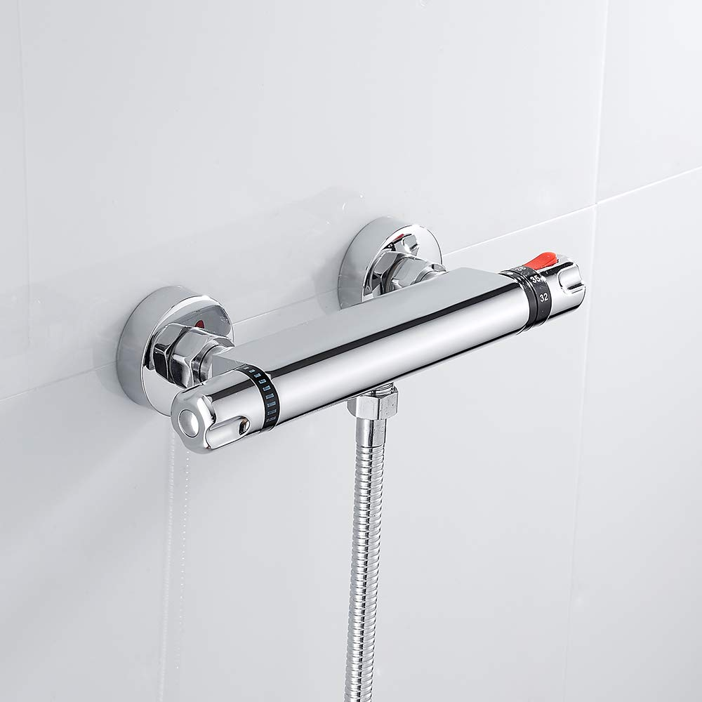 Thermostatic Shower Valve Shower Mixer Bar Chrome Hot Cold Water Mixer Constant Temperature Control for Bathroom Anti Scald Tap Wrighteu