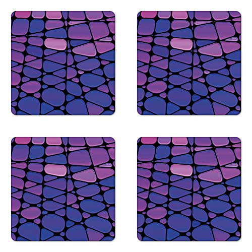 Ambesonne Abstract Coaster Set of Four, Contemporary Stained Glass Design with Graphic Drops Mosaic Vibrant Pattern, Square Hardboard Gloss Coasters for Drinks, Purple Pink Black