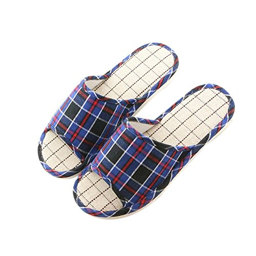 Men Autumn Cotton Men's Hemp Slippers TELLW Blue Holiday Linen Summer Light Spring Indoor Dark Breathable Lady qR4cUncO