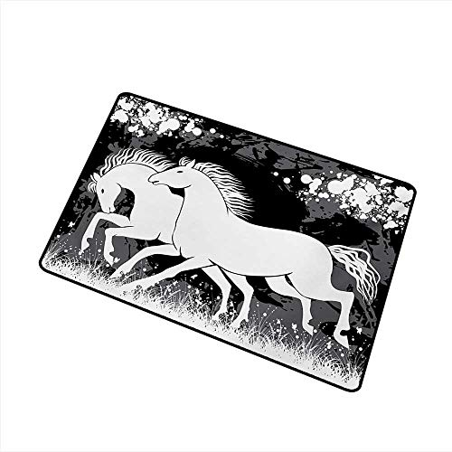 Axbkl Welcome Door mat Modern Antique Roman Time Gladiator Two Race Horses with Paint Marks Image Print W35 xL47 Antifouling