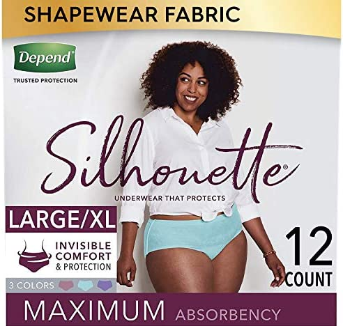 Depend Silhouette Incontinence Underwear for Women, Maximum Absorbency, Disposable, Large/Extra-Large, Lavender/Teal/Berry, Large/X-Large (12 Count)
