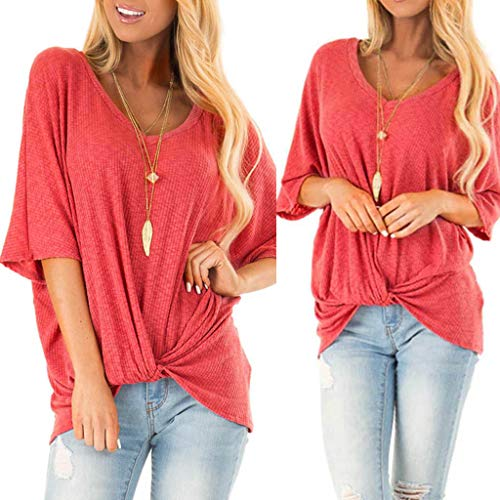 (Zlolia Women's Solid Color Long T-Shirt Round Neck Half Sleeve Knit Top Blouses Summer Fashion Casual Loose Pullover= Watermelon Red)