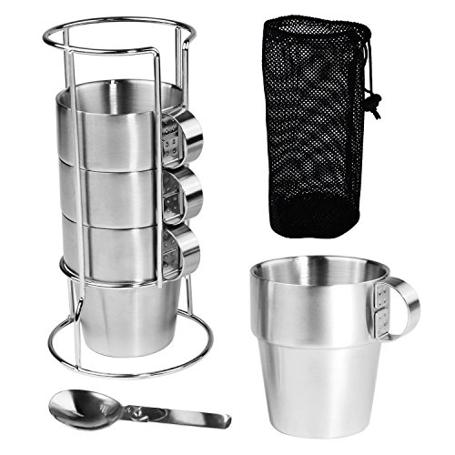 Coffee/Tea/Beer Cup Mug Set Stainless Steel Insulated Cups & Folding Spoon Set Double Layer Heat Insulation Outdoor Travel Camping Tumbler with Shelf and Mesh Pouch, Pack of 4