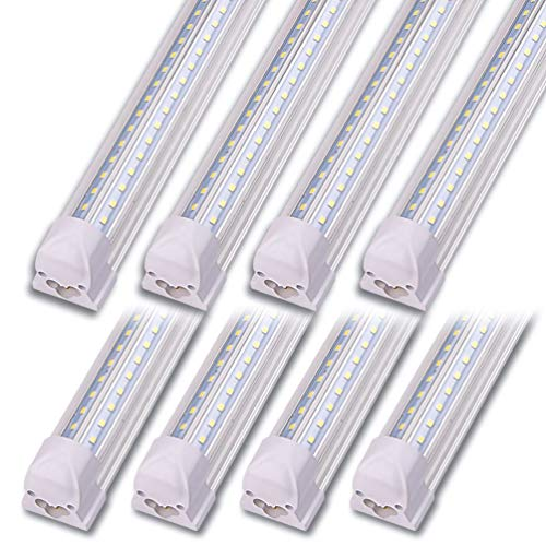 Kihung LED Shop Light 4ft, V Shape T8 LED Tube Light Fixture, Integrated 4 Foot Led Bulbs, 40w 5000 Lumens 6000K Cool White, 8-Pack