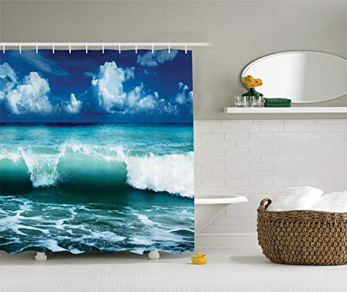 Ambesonne Ocean Shower Curtain Surf Waves Decor by, Caribbean Sea and Water Splash Picture for Surfers Print, Polyester Fabric Bathroom Set with Hooks, 75 Inches Long, Navy - Room Surfer Decor