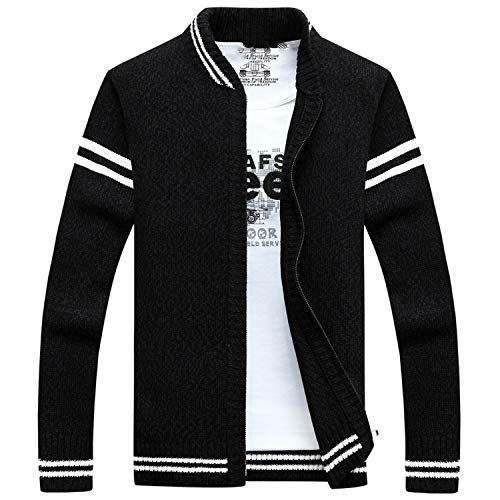 Mens Cardigan Sweater Men Zipper Sweaters Male Knitted,Black,M]()