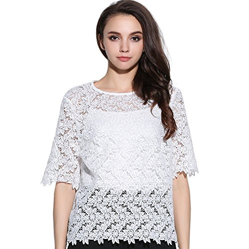 BLDO Women's Slim Floral Hollow Out See Through Lace Tops Blouse White