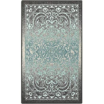 Maples Rugs Pelham Vintage Kitchen Rugs Non Skid Accent Area Carpet [Made in USA], 2'6 x 3'10, Grey/Blue