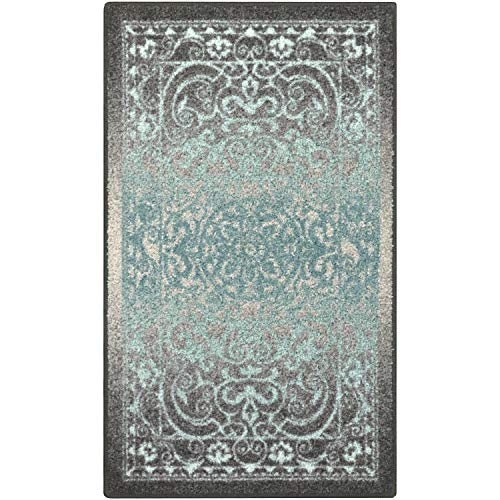 Maples Rugs Pelham 2'6 x 3'10 Non Skid Small Accent Throw Rugs [Made in USA] for Entryway and Bedroom, Grey/Blue (Teal Accent Pieces)