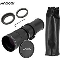 Andoer 420-800mm F/8.3-16 HD Super Telephoto Manual Zoom Lens with /T2 Telephoto Mirror Lens Adapter Ring for Nikon AI Mount Cameras