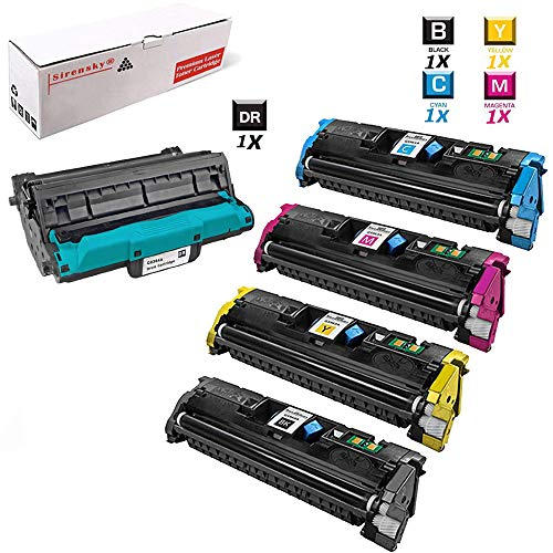 Sirensky Compatible Replacement for HP 2550 122A (1 Drum,1 Black,1 Cyan,1 Yellow,1 Magenta) Q3964A Imaging Drum Q3960A Q3961A Q3962A Q3963A Laser Toner Cartridge 5 Pack use with Color LaserJet 2550 25