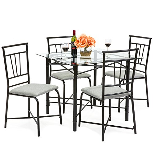 Best Choice Products 5-Piece Square Glass Dining Table Set w/ 4 Upholstered Chairs ()