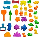 CoolSand Animal Sand Molds and Tools Kit (36 Pcs) - Works with all other Play Sand Brands - Includes: 10 Dinosaurs, 10 Animals and 12 Beach Molds, and 4 Tools - Sand Not Included