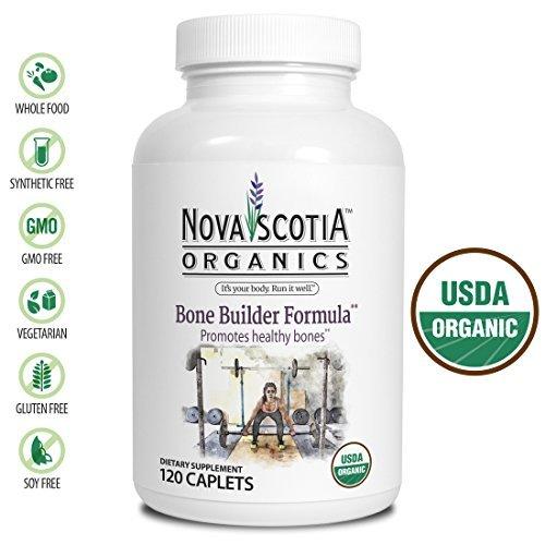 Nova Scotia Organics Bone Builder Formula  120 Caplets   Certified Organic  Vegetarian  Vitamin D3  K2  Calcium And Magnesium