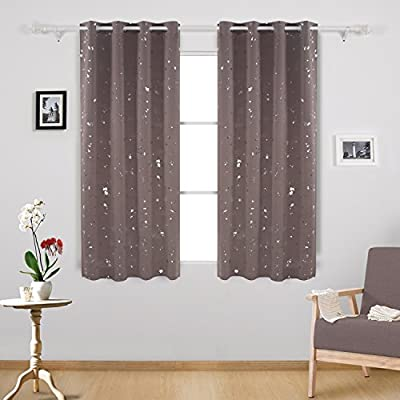 Deconovo Dots Printed Thermal Insulated Grommet Top Light Blocking Curtains for Bedroom, W52 x L63, Taupe/Silver - Deconovo blackout curtains are imported and made of 100 percent high quality polyester fabric. These dots printed window curtain panels are silky, soft, drapery and very pleasant to touch produced with 8 built-in silver grommets. These room darkening curtains obstruct the sunlight. They are light and UV rays blocking panels which have as added functions, providing maximum privacy as they are not see-through. Our amazing silver dots curtains are energy efficient home decor assets that reduce the amount of heat lost in cold months and reflect heat in the hotter ones. These curtain panels act as sound barriers that will reduce noise from busy streets or noisy neighbors. - living-room-soft-furnishings, living-room, draperies-curtains-shades - 51SQOf6%2BykL. SS400  -