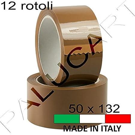 Nastro adesivo pacchi 12 ROTOLI 50 mm x 132 mt imballo scatoli cartoni professionale made in italy resistente top quality (AVANA) Palucart