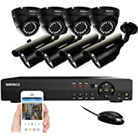 SANSCO CCTV Security Camera System with 8-Channel1080N DVR, 4 Bullet Cameras and 4 Dome Cameras (All Super HD 720P 1MP ) Smart Video Surveillance Kit, No HDD Included