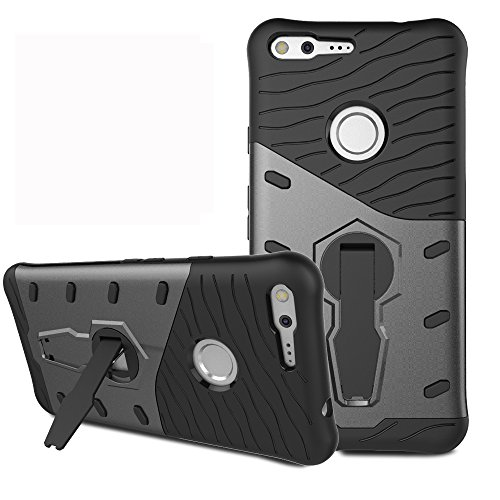 Google Pixel XL Case, Remex Heavy Duty Shockproof Dual Layer Hybrid Armor Defender Full Body Protective Cover with 360 Degree Rotating Kickstand for Google Pixel XL