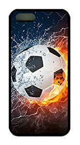 Super Soccer Ball In Water And Fire Theme Case for IPhone 4S Rubber Material