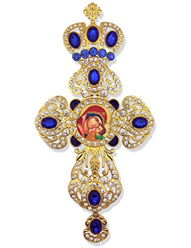 Religious Jeweled Wall Icon Cross Pendant With Crown Madonna and Child Byzantine Icon 9 Inch -
