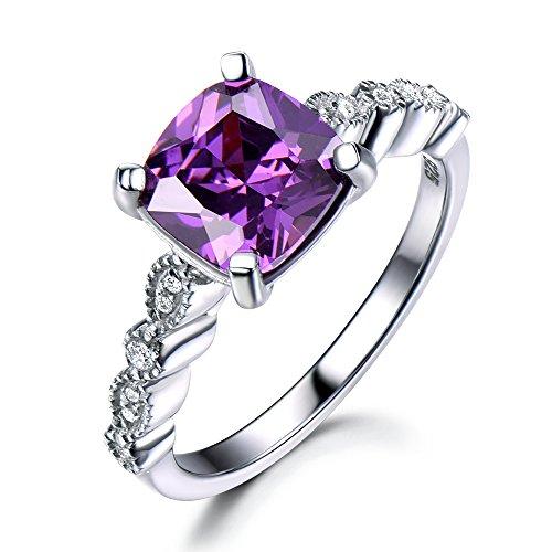 Cushion Cut Amethyst Engagement Ring White Gold 925 Sterling Silver Art Deco Milgrain CZ Cubic Zirconia by Milejewel Amethyst Engagement Ring